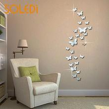 12pcs 3D Mirrors Butterfly Wall Stickers Decal Art Removable Room Newest cute Butterflies art Decals home Decoration room
