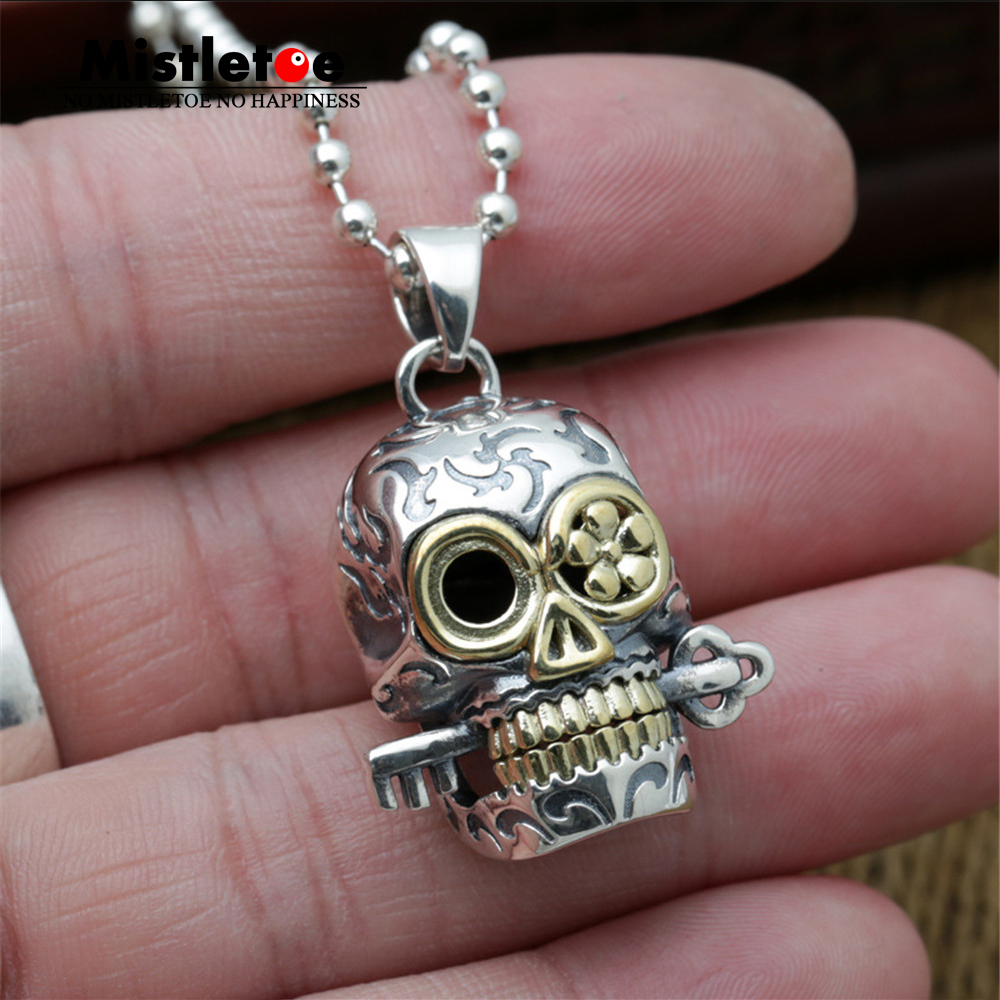 Genuine 100% 925 Sterling Silver Vintage Punk Locomotive Lucky Skull With Key & Flower Pendant For Women Men Necklace Jewelry punk style skull pendant choker necklace for women