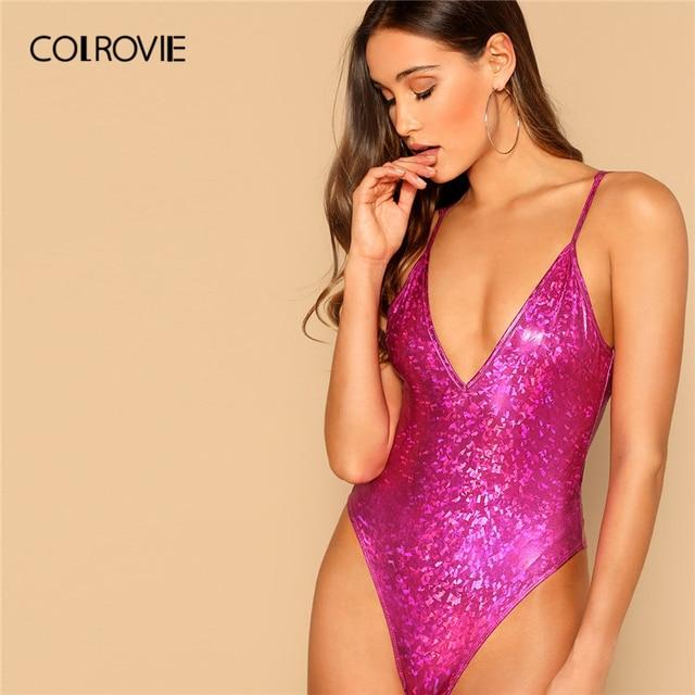 COLROVIE Purple Deep V Neck Cami Skinny Sexy Bodysuit Women Clothes 2019 Fashion Sleeveless Night Out Club Ladies Bodysuits