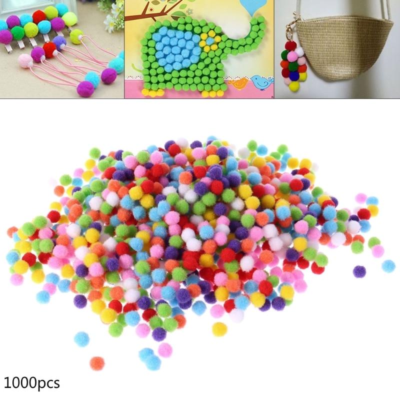 1000Pcs Soft Round Fluffy Craft PomPoms Ball Mixed Color Pom Poms 10mm DIY Craft Dec17