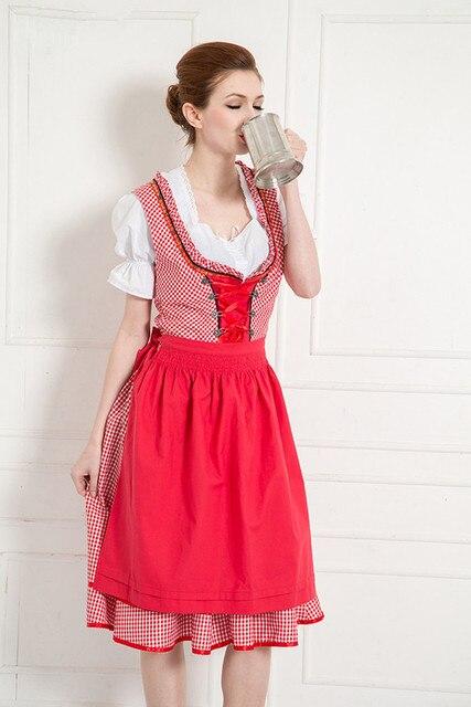 104493a5886a4 Ekim Oktoberfest Almanya Kırmızı Bira Carnaval Uzun Elbise Önlük Bluz  Kıyafeti Kostüm Kız Kadın Cadılar Bayramı