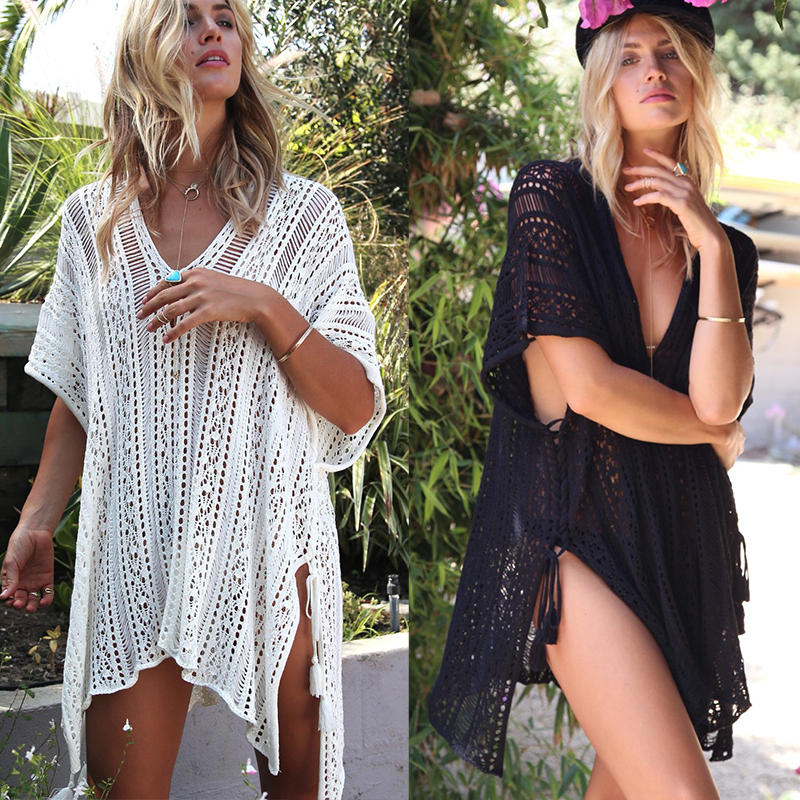 2019 Outlet Dress Bathing Suit Cover Ups for Woman Crochet Knitted tunic Women Beach  Summer Swimsuit Cover Up Sexy Sarong Платье