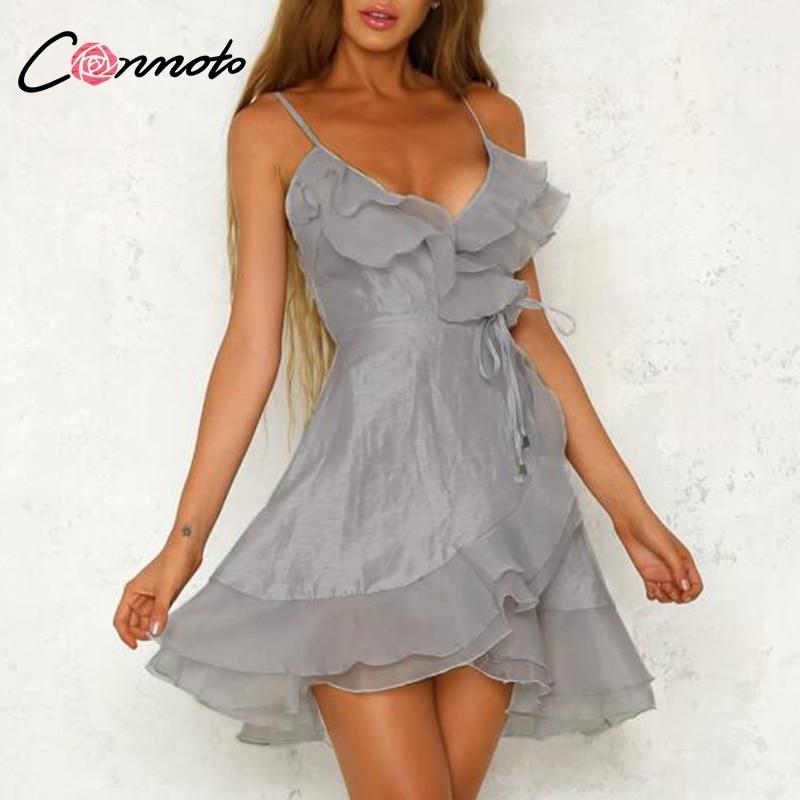Conmoto Silver Ruffle Elegant Party Dress Spaghetti Strap V Neck Sexy Dress Mash White Short Casual Dress Vestidos