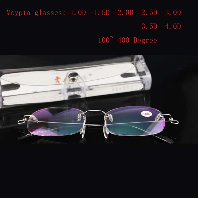 Rimless Metal Moypia Glasses Women's men's ultra-light fashion rimless Nearsight glasses -1.0 -1.5 -2.0 -2.5 -3.0 -3.5 -4.0