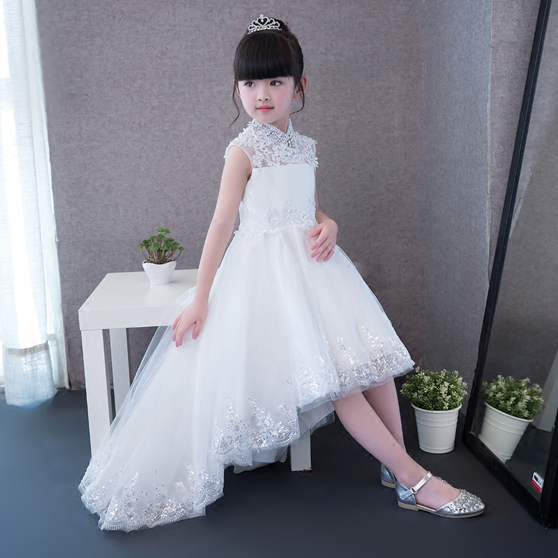 2017 European Luxury Elegant Solid Pure White Color Princess Lace Dress For Girls Children Wedding Birthday Dress With Long Tail 2017 new children girls elegant white color princess lace dress wedding birthday party long tail dress for kids costume dresses