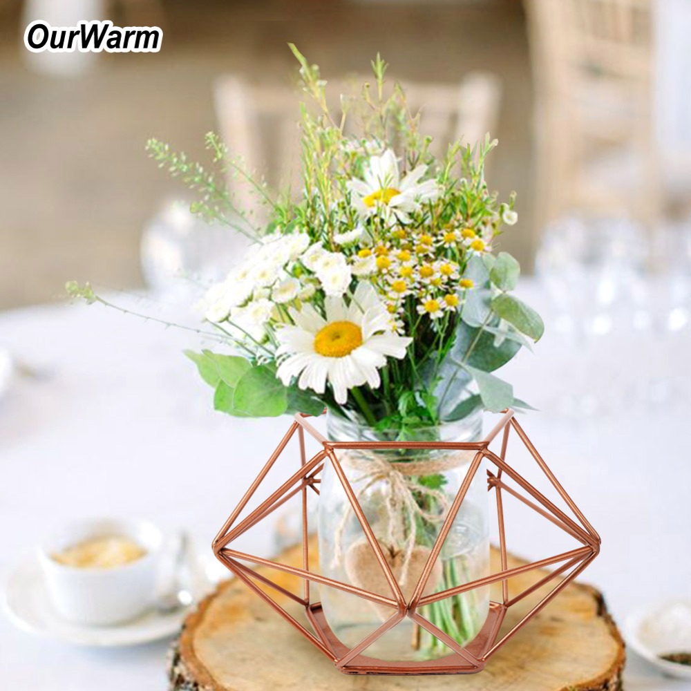 Us 7 99 40 Off Ourwarm Geometric Vase For Wedding Table Decoration Wedding Centerpieces Copper Geometric Candle Holder Diy Wedding In Party Diy