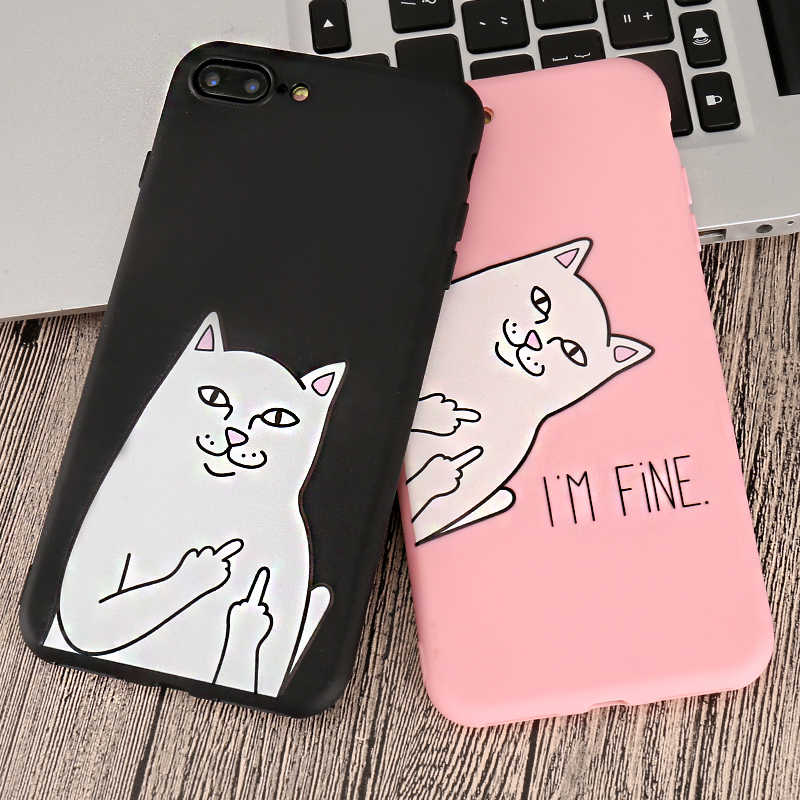 3D Grappige Cartoon Middelvinger Kat Telefoon Case Voor Iphone 5 5s Se 6 S 6 S 7 7Plus 8 8 Plus X xr Xs Max Silicone Soft Tpu Cover