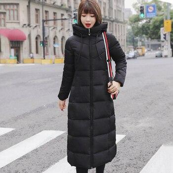 Плюс Размеры 4XL 5XL 6XL Для женщин s зимние куртки с капюшоном Стенд воротник хлопок мягкий женский пальто зимнее Для женщин Длинная парка Тепла...