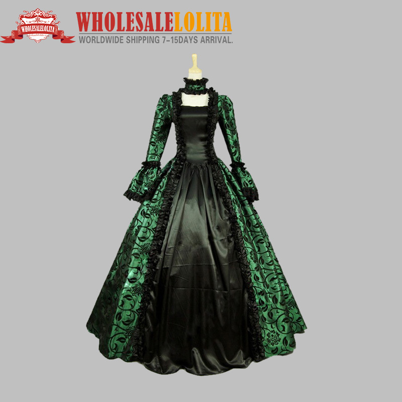 Victorian Gothic Georgian Period Dress Halloween Masquerade Ball Gown - Maskeradkläder och utklädnad - Foto 2