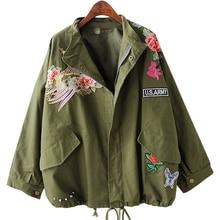 Missufe Flower Phoenix Embroidery Bomber Jacket 2017 Spring Plus Size Women Clothing Rivets Punk Coats Outwear Casual Jackets