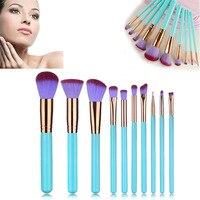 10 Pcs Make Up Brushes Blending Cosmetic Brush Makeup Brush Set For Foundation Eyshadow Blusher Powder