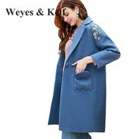 Weyes & Kelf Winter Thick Warm Womens Wool Coats Embroidery Long Woolen Coat Female Long Overcoat Womens Wool Flower Coats