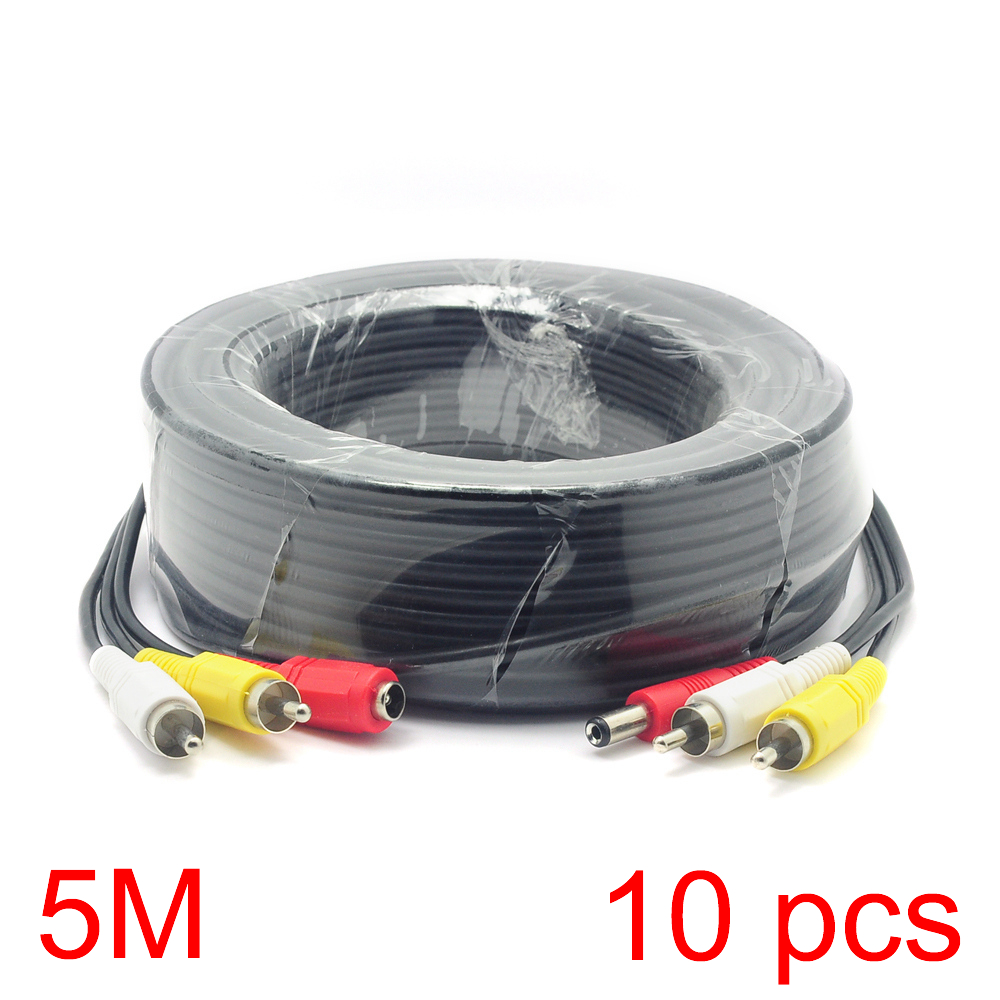 10x 5M/16FT 2 RCA DC Connector Audio Video Power AV Cable All-In-One CCTV Wire