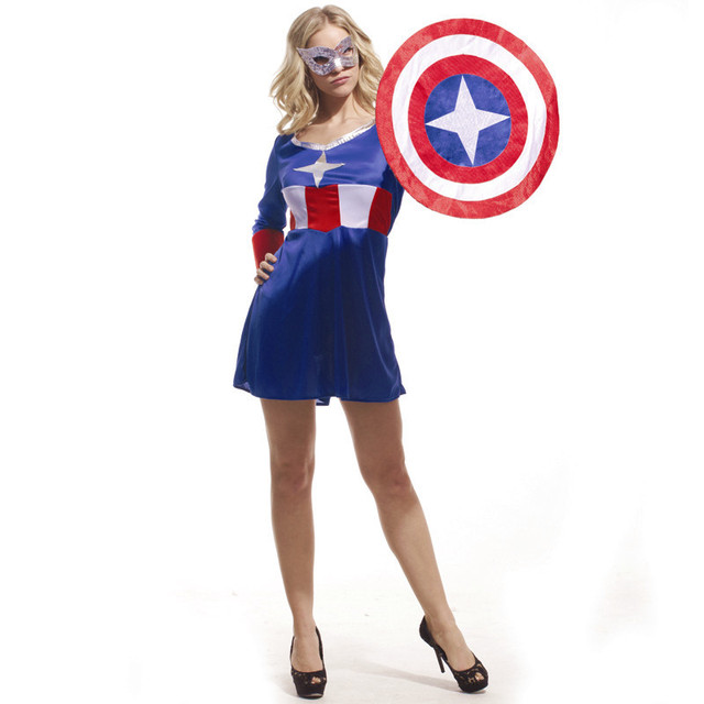 ef3aad58a4 Fantasia Halloween Captain America Costumes For Women The Avengers Cosplay  Carnival Christmas masked ball Masquerade party dress