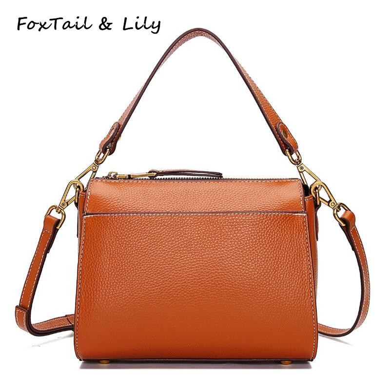 FoxTail & Lily Brand Women Real Genuine Leather Handbags Fashion Small Flap Shoulder Crossbody Bags Luxury Quality Messenger Bag women shoulder bags leather handbags shell crossbody bag brand design small single messenger bolsa tote sweet fashion style