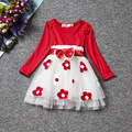 Toddler Girl Clothes New 2016 Autumn Flower Baby Dress Children Kids Infant Clothing Bow Tulle First Birthday Dresses