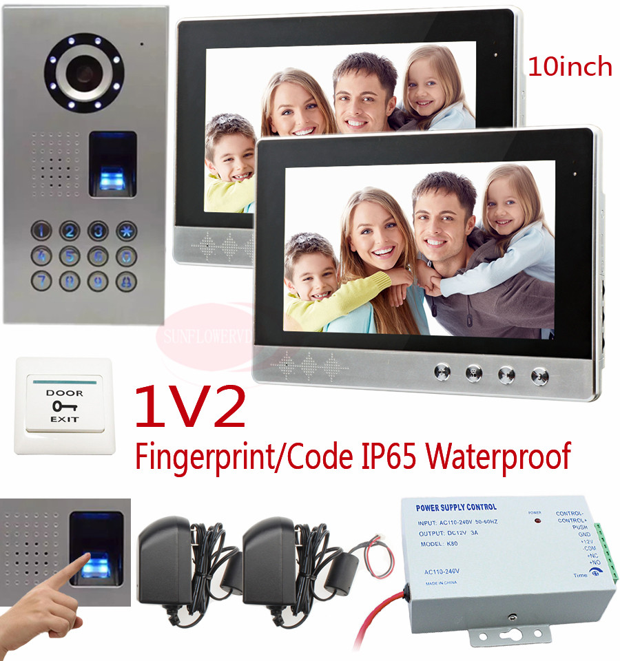 Door Entry Intercom Systems 10Inch Color Intercoms For Homes Fingerprint recognition/Password unlock IP65 waterproof CCD Camera for 2 apartment video intercom fingerprint recognition password 700tvl sony camera unlock intercom video phone ip65 waterproof