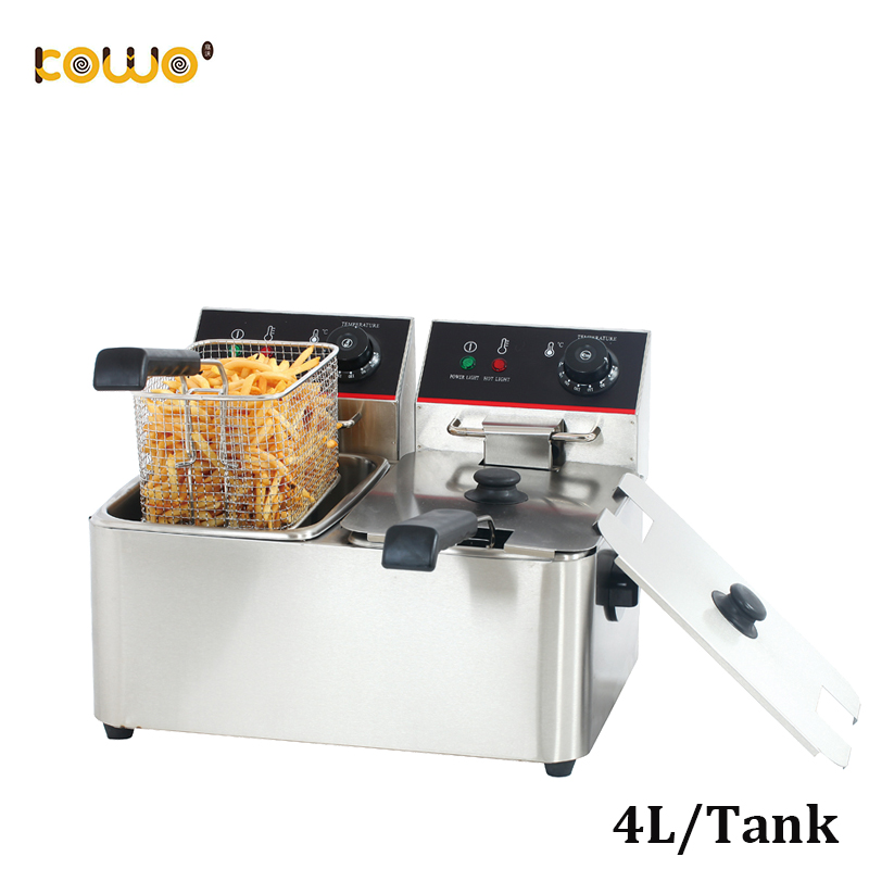 commercial double tanks electric deep fryers 4L/tankcommercial double tanks electric deep fryers 4L/tank