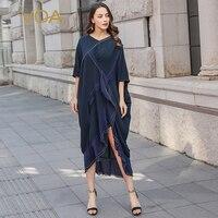 VOA Silk Robe Pull Dress Women Irregular Plus Size Loose Dresses Ruffles Sexy vestidos Casual sukienki damskie jurken A10132