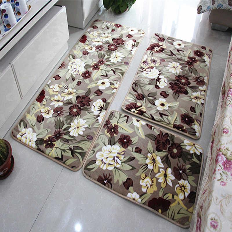 Absorção de água tapete de banheiro coral velo sala de estar tapete de cozinha tapete anti-deslizamento tapete de banho 40*60/50*80/60*90/3pc