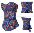 Blue Vintage Rose Floral Overbust Boned Corset Lace up Bustier Body Shaper Top S M L XL 2XL