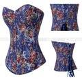 Vintage azul Rose Floral Overbust deshuesado corse encaje hasta Bustier cuerpo faja Top sml XL 2XL