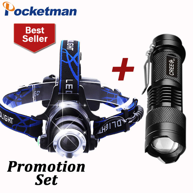 3800LM Head lamp LED Headlight CREE T6 18650 Head lights headlamps + Q5 Mini LED flashlight 2000lm Zoomable Torch Tactical