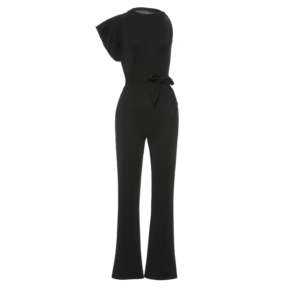Sisjuly Women Vintage One Sleeve Office Black Jumpsuits Sexy Butterfly Sleeve High Waist Bowknot Belt Bell Bottom Jumpsuit