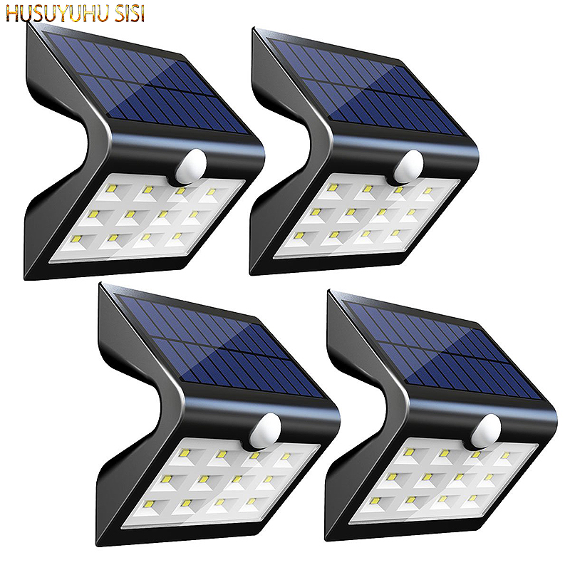 4 Pcs SL412 2nd Version 14 LED Solar Rear Projection Outdoor Motion Sensor Activated Security Night Light Auto on/Off Wall Lamp|Solar Lamps| |  -