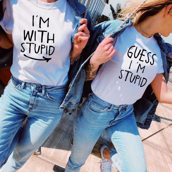Best Friends Matching Shirts I'm With Stupid Guess I'm Stupid Tees Funny Bff Shirts Summer Short Sleeve Girlfriend Besties Shirt