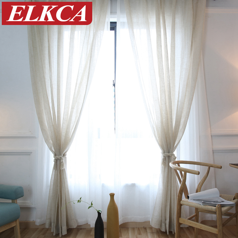 New Elegant Modern Solid Faux Linen Sheer Curtains For Living Room Tulle The Bedroom