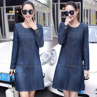 New Spring Autumn Women Dresses Vestido Casual Plus Size Slim Solid Long Sleeve Jeans Dress For