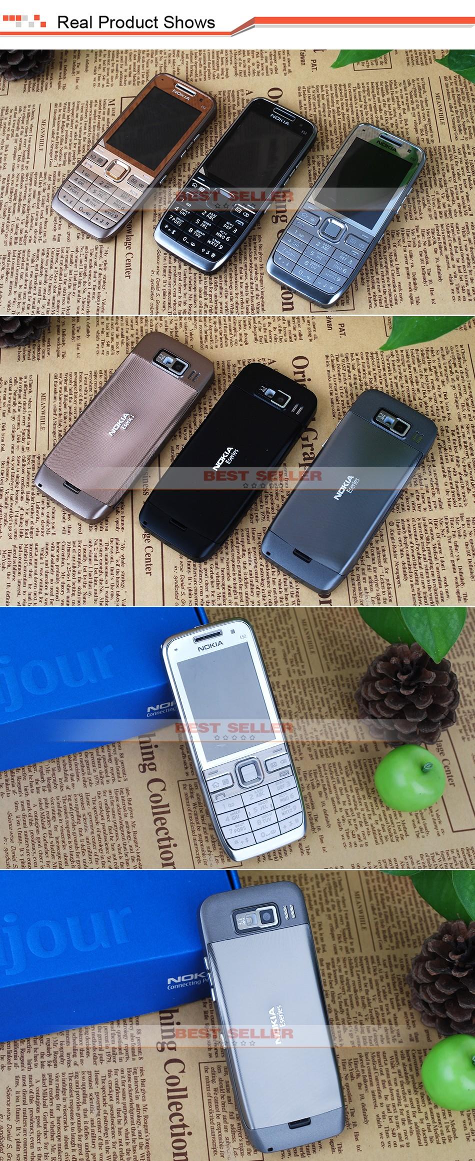 Refurbished phone Original Unlocked Nokia E52 GSM WCDMA cell phone Wifi Bluetooth GPS 3.2MP Camera black 4