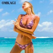 OMKAGI Brand Swimsuit Swimwear Women Sexy Push Up Bikinis Set Bandage Female Swimming Suit Beachwear Bathing Suit Bikini 2018