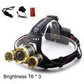 Super Bright T6 x3 LED Headlamp Zoomable Focus Frontale Head Lamp Flashlight Torch Headlight +Car AC Home charger +18650 battery