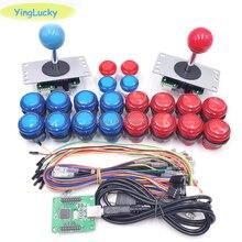 Arcade DIY Kits Parts 5Pin Joystick + 2x 24mm + 8x 30mm 5V LED Illuminated Push Buttons xin mo Zero Delay USB Encoder To PC