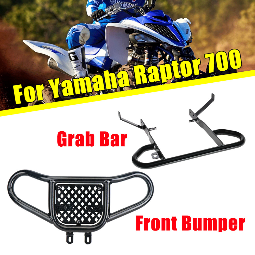 KEMIMOTO Black Front Bumper+Rear Wide Grab Bar ATV For Yamaha Raptor 700 All Year