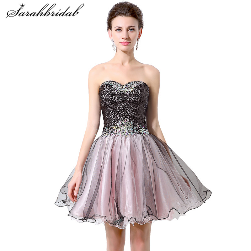 Youthful Sweetheart Short   Prom     Dresses   Tulle Sequins A Line Back Lace Formal Party Gowns Beaded Knee-Length Sleeveless Hot SD316
