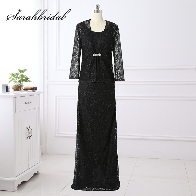 Hot Sale 2 Piece Vintage Black Lace Mother of the Bride Dresses with Jacket Long Sleeve