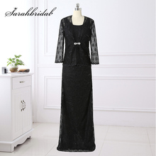 Hot Sale 2 Piece Vintage Black Lace Mother of the Bride Dresses with Jacket Long Sleeve Plus Size Evening Party Gowns SD407