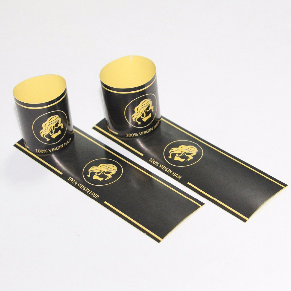 Us 84 6 6 offcustom logo virgin human hair paper bundle wraps self adhesive stickersbrand name hair wig extension packaging seal warps in garment