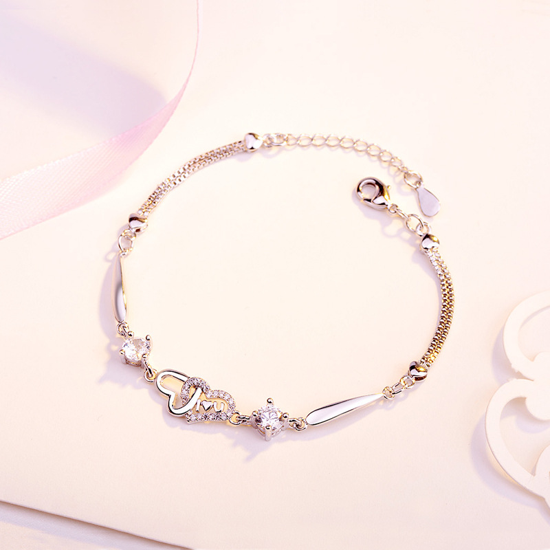 ZTUNG CHP56 Zircon Europe and America new heart Bracelet fashion jewelry Bangles silver bracelet for girl