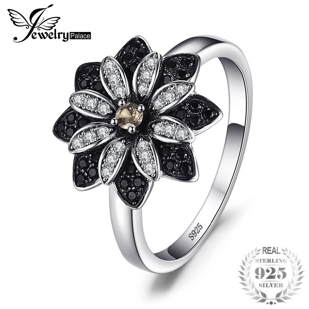 JewelryPalace Flower Natural Taupe Smoky Quartz Black Spinel Ring Charms 925 plata esterlina moda joyería fina para mujeres anillo
