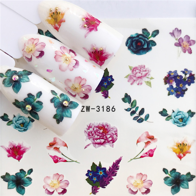 1 PC Colorful Flower / Horse Water Transfer Nail Art Sticker Beauty Red Maple Leaf Decal Nails Art Decorations
