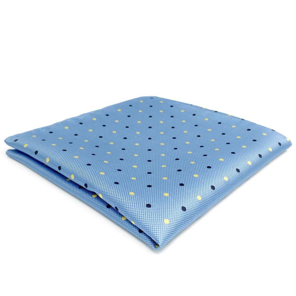 FH21 Light Blue Dots Mens Pocket Square Silk Classic Handkerchief Business Gift