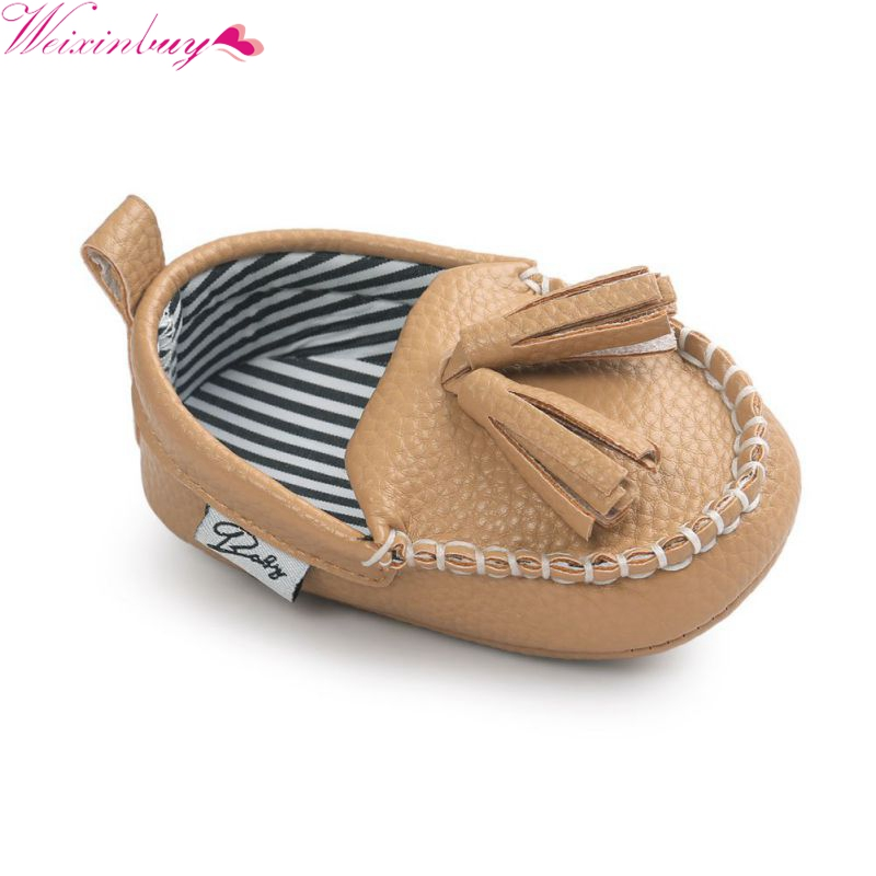 WEIXINBUY Moccasins First Walkers Toddler Prewalkers Shoes Baby Girl Boy Shoe Tassel Pendant PU Leather Shoes
