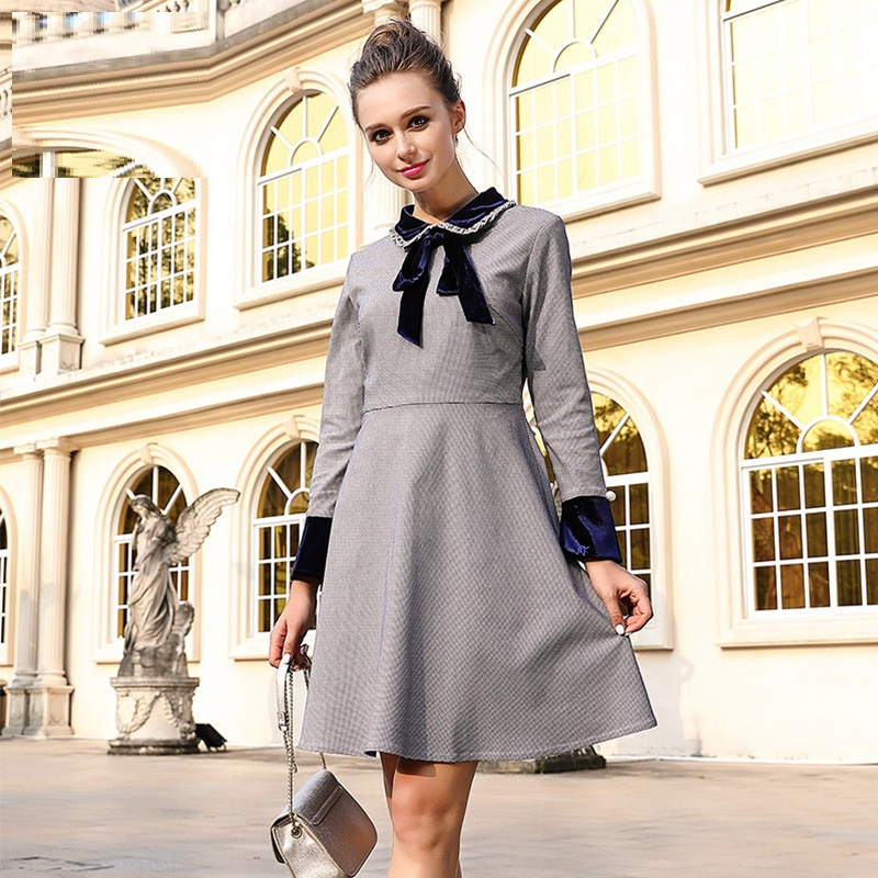 2017 Autumn Winter women elegant plaid dress pinched waist peter pan collar dress Plus Size cultivating casual vestidos L-XXXXXL