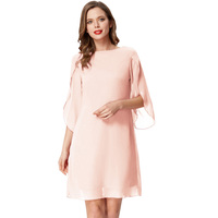 Ladies Short Dress Solid Cocktail Party Chiffon Scoop neck V back Double layer 3/4 split sleeves Plus size New