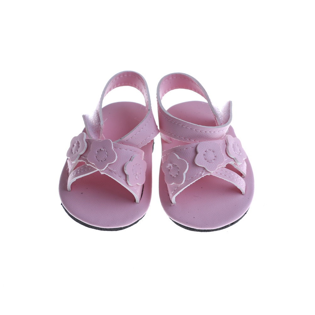 1 Pair Pink Flower Shoes 18 Inch Girl Doll 7CM Doll Shoes For 43CM Baby Doll Sandals Summer Pink Shoes