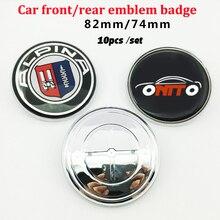 цена на 10pcs 82mm 74mm Chrome Base Car Front Hood Emblem Bonnet Badge Trunk Boot Cap Carbon Fiber Aluminum decals stickers for bmw